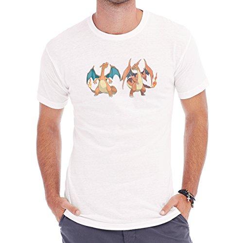 Pokemon Charizard Dragon Fire Flying Two Twins Herren T-Shirt Weiß