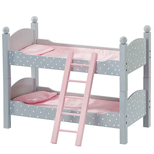 """Olivia's Little World - Princess 18""""Doll Double Bunk Bed (Grey Polka Dots)  18 inch Doll Furniture   Fits American Girls. Our Generation and More"""