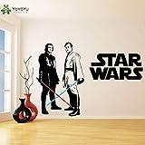 fancjj Vinyl Wandaufkleber Für Kinderzimmer Dekoration Obi Wan Kenobi & Anakin Skywalker Lichtschwert Wandtattoo Schlafzimmer Deco 42X60 cm
