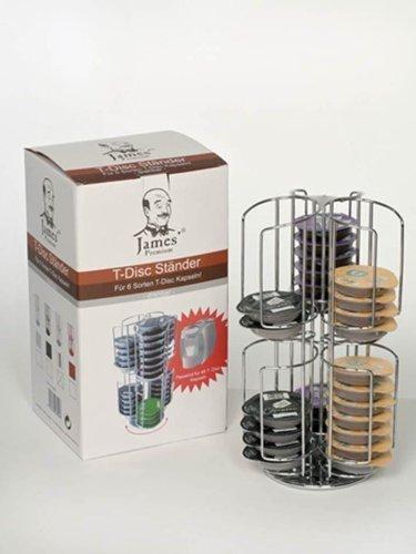 Kapselständer für 48 Tassimo Disc NEU verchrohmte Version + 3 Cappuccino Tassen mit Henkel von James Premium® wichtig Sie können 6 Sorten griffbereit lagern