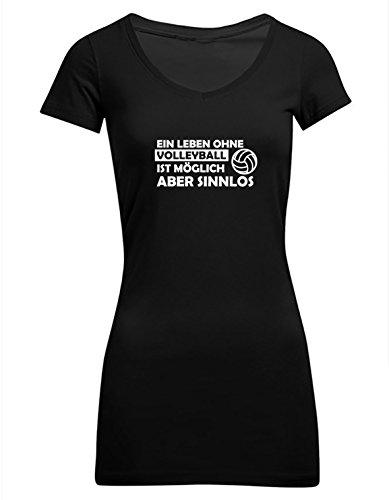 Ein Leben ohne Volleyball ist möglich aber sinnlos, Frauen T-Shirt Extra Lang - ID104297 Schwarz