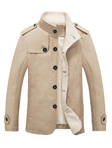 MatchLife Herren Wollmantel Wintermantel Winter Jacke Warm Wolljacke Männer Parka Style1-Khaki L