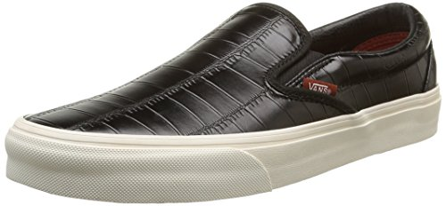 Vans Unisex-Erwachsene Classic Slip-On Sneaker Black (Croc Leather - Black)
