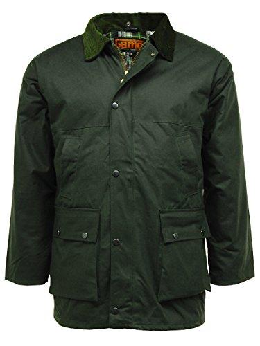 Regen-Jacke Gesteppt gepolstert Baumwollwachs Grün - Olive