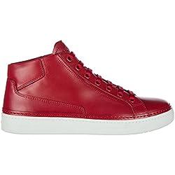 Prada scarpe sneakers alte uomo in pelle nuove rosso