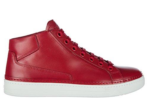 Prada Herrenschuhe Herren Leder Schuhe High Sneakers Rot EU 42 4T2863O64F0011 (Prada Rot Leder)