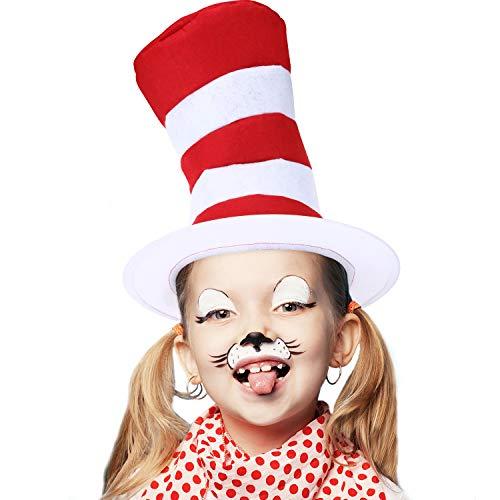 SATINIOR 3 Stücke Zylinder Kostüm Roter Weißer Hut für Halloween Kostüm Zubehör, - Weiser Mann Kostüm Kleinkind
