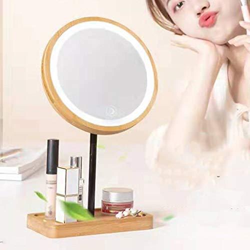 SYQS Massivholz-LED-Spiegel, tragbarer Tischkosmetikspiegel, roter Netto-Kosmetikspiegel, geeignet für den Ankleideraum zu Hause Charging Model