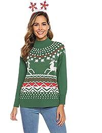Aibrou Jersey Suéter de Navidad Mujer,Jerséis de Punto Cuello Redondo Suelto Linda y Moda Regalo de año Nuevo