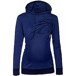 Happy Mama. Damen Kapuzenpullover Stillzeit Top Zweilagiges Sweatshirt. 272p (Marine, EU 36, S)