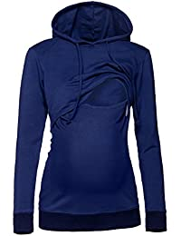 Happy Mama. Damen Kapuzenpullover Stillzeit Top Zweilagiges Sweatshirt. 272p