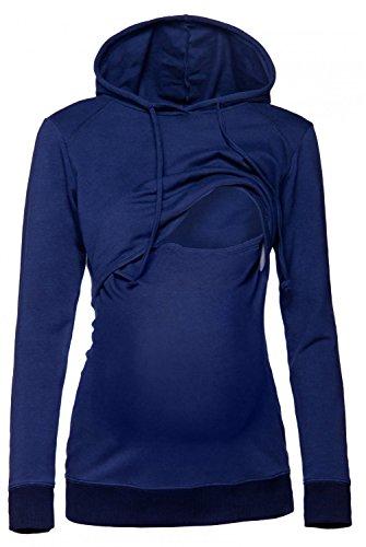 Happy Mama. Damen Kapuzenpullover Stillzeit Top Zweilagiges Sweatshirt. 272p (Marine, EU 46, 3XL)