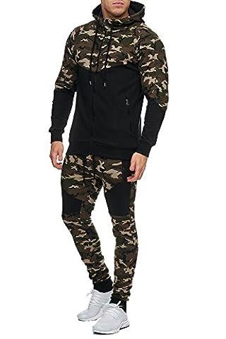 Herren Camouflage Army Jogginganzug Jogging Hose Jacke Sportanzug Military Grün L