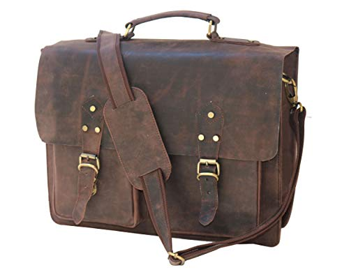 Bandolera de Cuero, Unisex, diseño Vintage, Ideal como maletín de Negocios o para portátiles y Libros, Hecha a Mano, Resistente y gastada, Retro y auténtica (Cherry Bag)