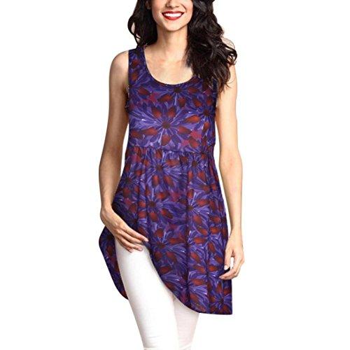 MRULIC Geschenk Zum Muttertag Womens Fashion Printed Tops Lose T-Shirt Lange Bluse (EU-48/CN-5XL, X-Violett)