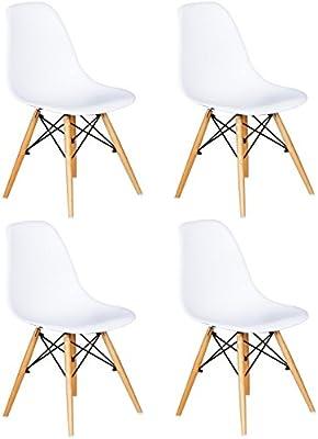Juego de 4 sillas con asiento de resina y patas de madera, inspiradas en el modelo DSW de Charles & Ray Eames,
