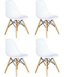 Mmilo® Lot de 4 DSW Chaise de salle à manger Blanc