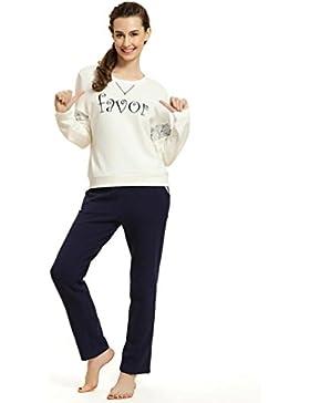 CHUNHUA Lady stampa di modo pigiama a maniche lunghe tuta , white / blue , xl