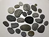 MEIERLE & Söhne 25 Flusssteine Kiesel mit Quarzadern Flusskiesel aus den Alpen Kunst Flusssteine Dekosteine Bergkiesel flach Unikat Naturjuwel grau rot weiß schwarz zum Basteln Bemalen