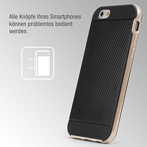 Urcover® Apple iPhone 6 / 6s Handy-Hülle [ Carbon Optik ] Hybrid 2 teiliges Case SCHWARZ TPU PC Cover Case Etui Schutz-Hülle Handyschutz Gold