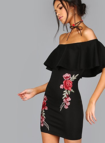 Azbro Women's off Shoulder Ruffle Floral Embroidery Bodycon Dress Burgundy