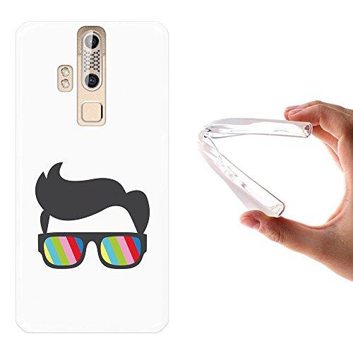 WoowCase ZTE Axon Elite Hülle, Handyhülle Silikon für [ ZTE Axon Elite ] Sonnenbrille und Nerd Stil Handytasche Handy Cover Case Schutzhülle Flexible TPU - Transparent