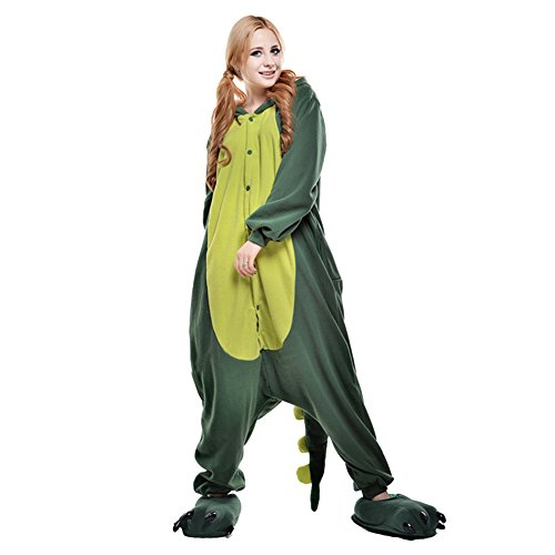 LPATTERN Unisex-Erwachsene Cosplay Pyjamas Onesie  Tier Kostüm Schlafanzug Jumpsuit für Halloween Karneval, Grüner Drache, Large (Korpergröße 170-178CM)