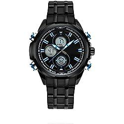 ZEIGER Herren Uhr Digital Analog Quarz Armbanduhr Schwarz Blauer Zeiger Sportuhr Edelstahl W393