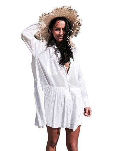 Bsubseach Mujer Camisa Verano Blanca Traje Baño Casual