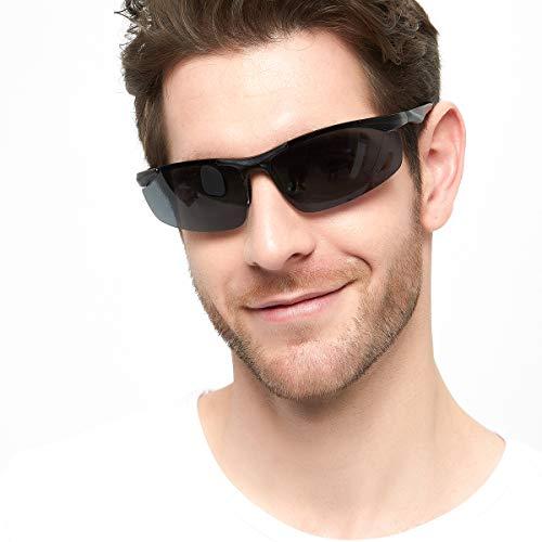 Fawova- Sport Polarisierte Sonnenbrille Herren,Wayfarer Fahrradbrille mit UV400 Ultraleicht fur Fahrrad Motorrad Biker (schwarz) (schwarz)