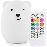 Luz colorida de la noche Conejo y oso lindos Lámpara de escritorio portátil de silicio LED Lámpara de noche de los niños con 9 colores cambiantes para el bebé/dormitorio / oficina (oso)