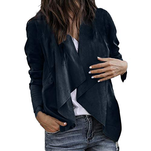 BHYDRY Frauen Langarm Leder Open Front Short Cardigan Anzug Jacke Arbeit Büro Mantel(EU-42/CN-M,Marine)