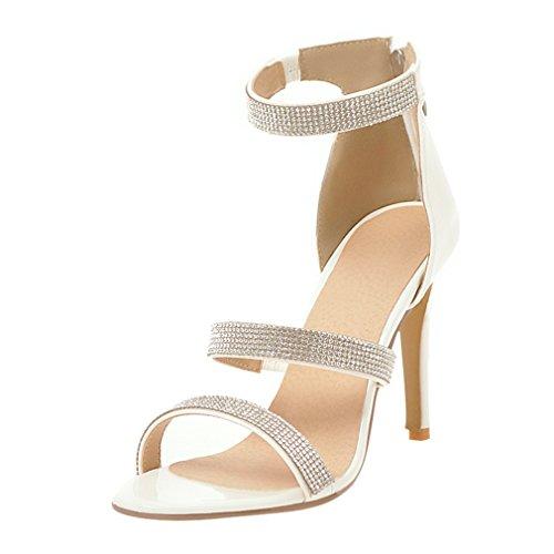 78f062924cc3c2 UH Damen Sandalen High Heels Glitzer Riemchensandalen mit Stiletto 10cm  Absatz Elegante Party Abendschuhe