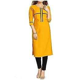 Muta Fashions American Crepe Yellow New Arrival Women Kurti ( KURTI362_Yellow )