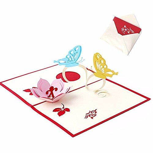 (Vazan - 3D-Pop-Up-Feiertags-Gruß-Karten-Blumen-Schmetterlings-Weihnachtserntedank-Geschenk)