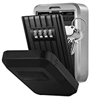 Key Lock Box, Wall Mounted Key Safe Storage Lock Box High Security for Homes, Offices, Factories, Construction Site, Ultra Tough 4 Digit Combination Secure Key Storage