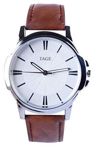 TAGE Silver Line Edition Herren-Armbanduhr – Luxus Quarz Kalender Armbanduhr Analog Anzeige und Lederarmband bietet eine Klassische Mode Kleid Uhr – Wasserdichtes Edelstahl-Gehäuse