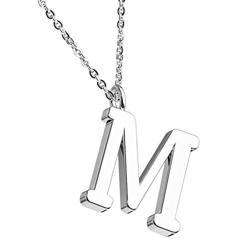 Mianova Damen Halskette Kette mit Buchstaben Anhänger Silber Buchstabe M