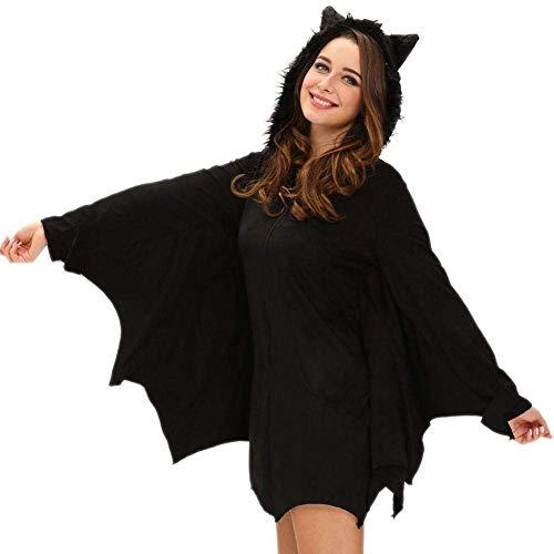 Fashion-Cos1 Schwarze Fledermaus Gothic Hexe Kostüm für Erwachsene Frauen Halloween Cosplay Party Phantasie Zip Hoodie Kleid (Size : S)