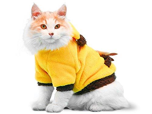 ody für Katzen, Kapuzenpullover für Hunde, Winter Hundemantel, Hund Kostüm, Katze Kostüm, schützt vor kaltem Wetter, Halloween Verkauf, Small, Gelb ()