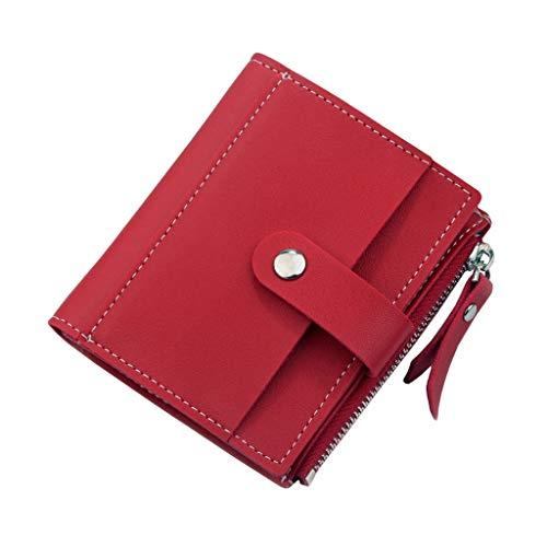 SuperSU Damenbörse Kurz Faltender Brieftasche Einfarbig mit Schnalle Reißverschluss Leder Multi-Card-Bit Mini Geldbörse Kartenpaket,Frau Hipster Geldbeutel Klein Portemonnaie