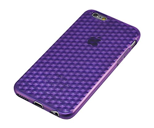 Xcessor Transition Farbe Flexible TPU Case Schutzhülle für Apple iPhone 6. Mit Gradient Silk Gewinde Textur. Transparent / Grau Lila / Transparent