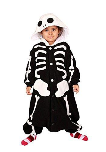 Kostüm Pyjama Skelett Kigurumi - Fleece Pyjama Kigurumi - Skelett (110cm für Kinder)