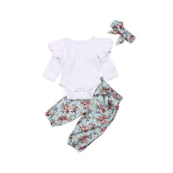 Traje de Dormir Mameluco Tops de Mameluco con Mangas con Volantes para bebés y niños pequeños + Pantalones Florales… 5