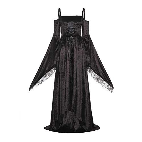 DELI Kleid Renaissance Verband Medieval Kleid Elegante Goth Spitze Flare Hülse Slash Hals Retro Plus Größe Weibliche Kleid (Plus Renaissance-kleider Größe)