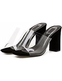 HBDLH Scarpe da donna/Comfort/Moda Testa Quadrata 9Cm Tacco Alto Le Pantofole Primavera Fibbia Della Cintura…