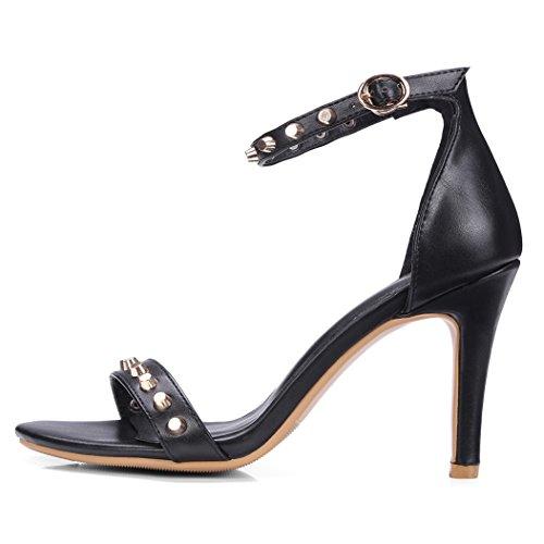 YE Damen Ankle Strap Sandalen Stiletto High Heels Offen mit Schnalle und Nieten 9cm Elegant Schuhe Rot