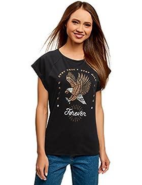 oodji Ultra Mujer Camiseta de Algodón con Estampado sin Etiqueta