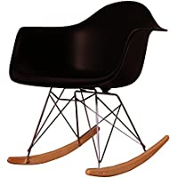 Charles Eames Stile retrò di plastica nero sedia a dondolo