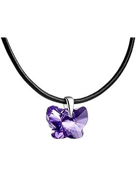 butterfly Mädchen Lederkette original Swarovski Elements Schmetterling lila längen-verstellbar Schmuck-Beutel,...